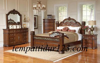 Tempat Tidur Ukir Set Kamar Pengantin Mewah