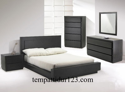 Bed Set Frame Minimalis Black